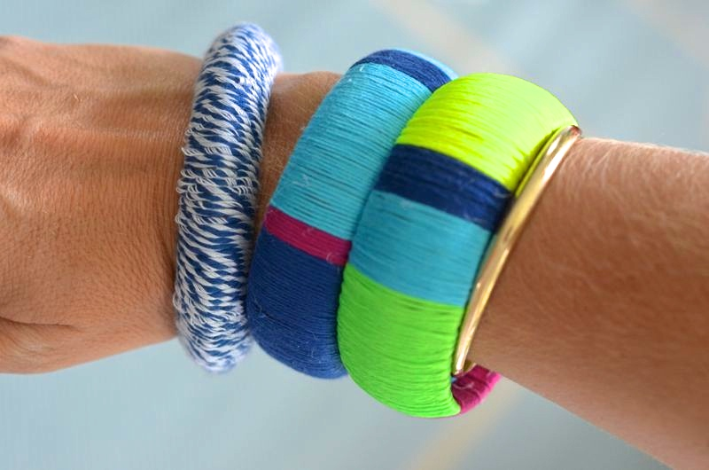 Diy wrapped bracelets with embroidery thread vrai magazine